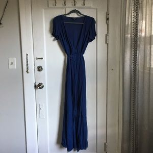 Lulu's Deep Blue Maxi Wrap Dress